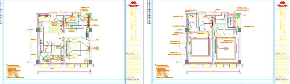 宾馆客房标准间灯位电路平面图